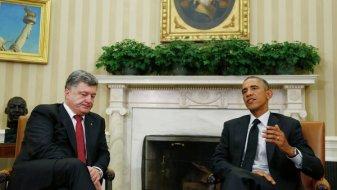 """Rencontre entre M. Porochenko et B. Obama pour l'obtention d'un statut d'""""allié non membre"""" de l'OTAN."""