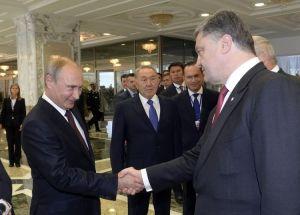 Rencontre entre les présidents Porochenko et Poutine.